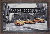 Коврик грязезащитный Такси в Нью-Йорке, 40х60см., серый