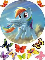 Пони+бабочки 2 Вафельная картинка