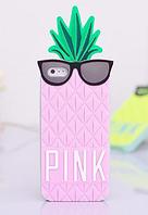 Силиконовый чехол Розовый ананас на Iphone 4/4S , фото 1