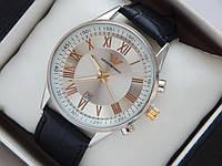 Мужские (Женские) кварцевые наручные часы Emporio Armani на кожаном ремешке с датой, фото 1
