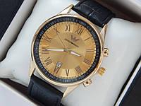 Мужские (Женские) кварцевые наручные часы Emporio Armani на кожаном ремешке с датой