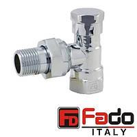 Кран радиаторный хром 1/2'' угловой нижний FADO Италия