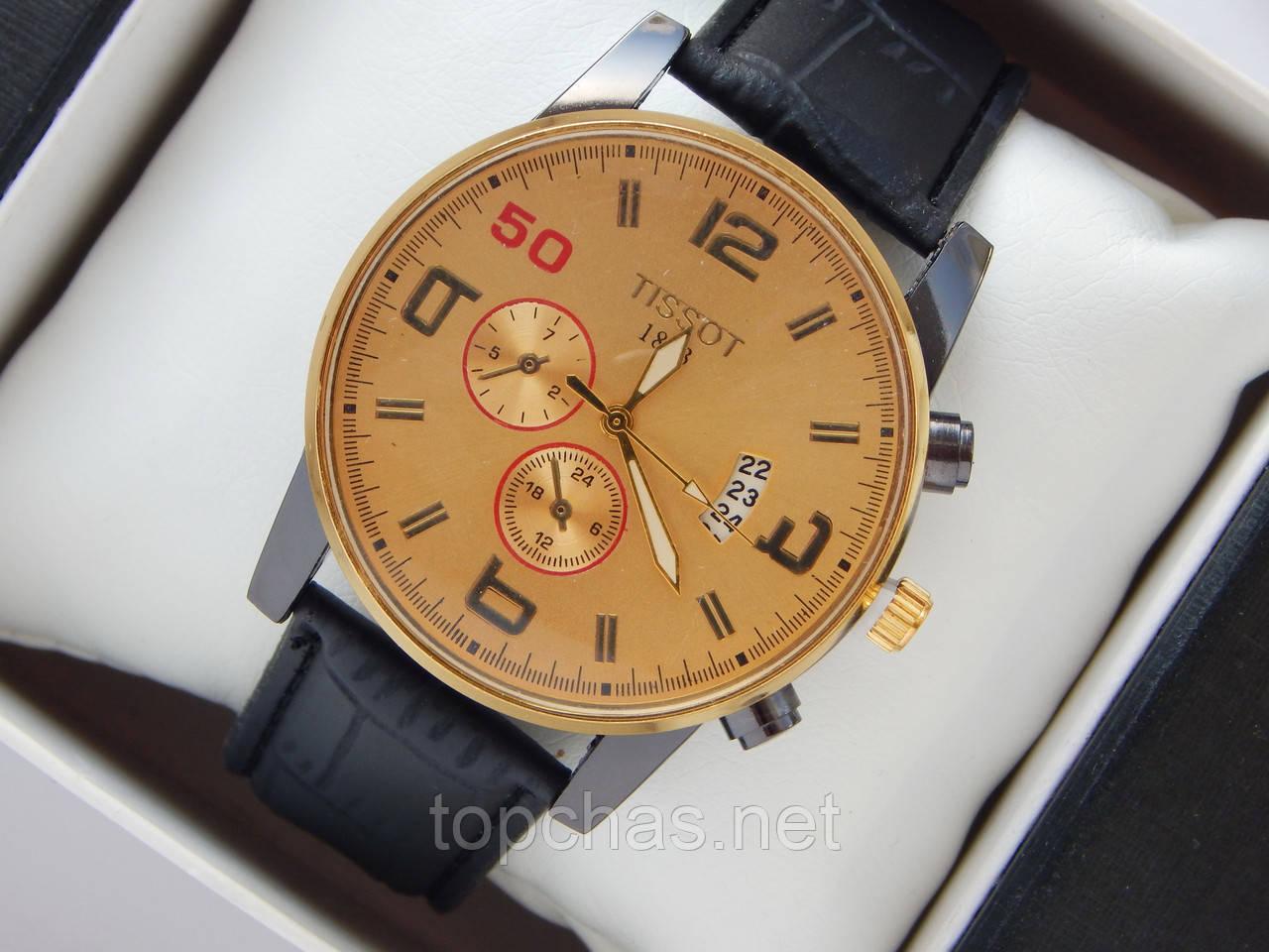 45a381a43caa Мужские (Женские) кварцевые наручные часы Tissot на кожаном ремешке с датой  - Top Chas