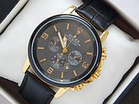 Мужские (Женские) кварцевые наручные часы Rolex на кожаном ремешке с датой