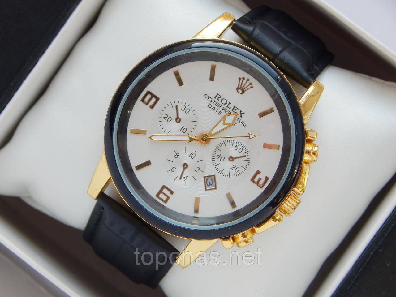 Мужские (Женские) кварцевые наручные часы Rolex на кожаном ремешке с датой b10245b9f52