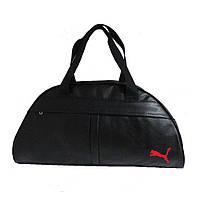 Спортивная сумка Puma из чёрного кожзама с красной нашивкой, Пума