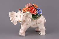 """Статуэтка керамическая 32х26 см. """"Слон с цветами"""" разноцветная"""