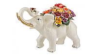 """Фигурка """"Белый слон с цветами"""" 44 см."""