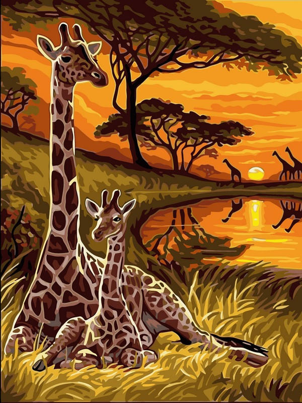 Картины по номерам 30×40 см. Маленький жираф