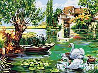 Картины по номерам 30×40 см. Лебединое семейство