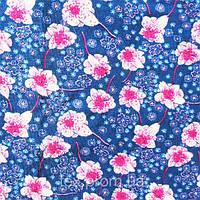 Трикотажное полотно ви/эл, цветы на синем