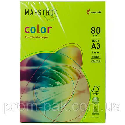 Цветная бумага Maestro А3 г/м² 80 неон зеленый, фото 2
