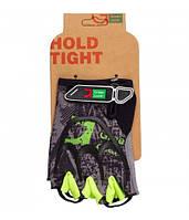 Перчатки Green Cycle NC-2517-2015 Road без пальцев S серо-зеленые