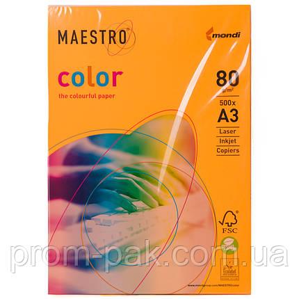 Цветная бумага Maestro А3 г/м² 80 неон оранжевый, фото 2