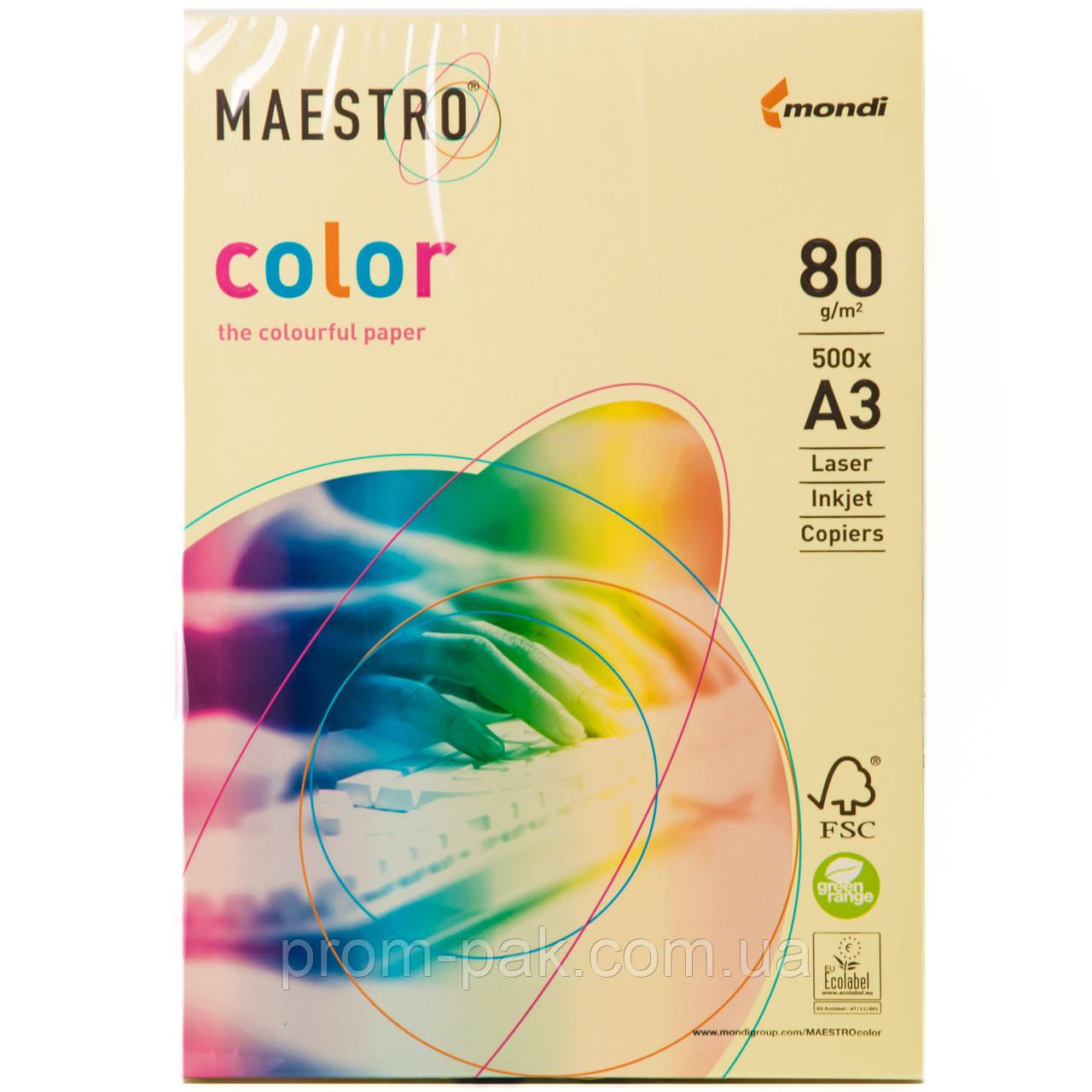 Цветная бумага Maestro А3 г/м² 80 пастель желытй