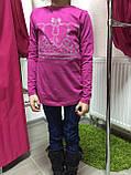 Джемпер для дівчаток, турецький Корона малиновий 128-176, фото 2