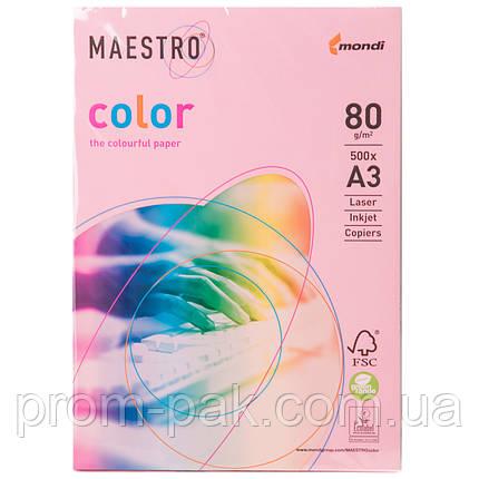 Бумага цветная Маэстро А3 г/м² 80 пастель розовый, фото 2