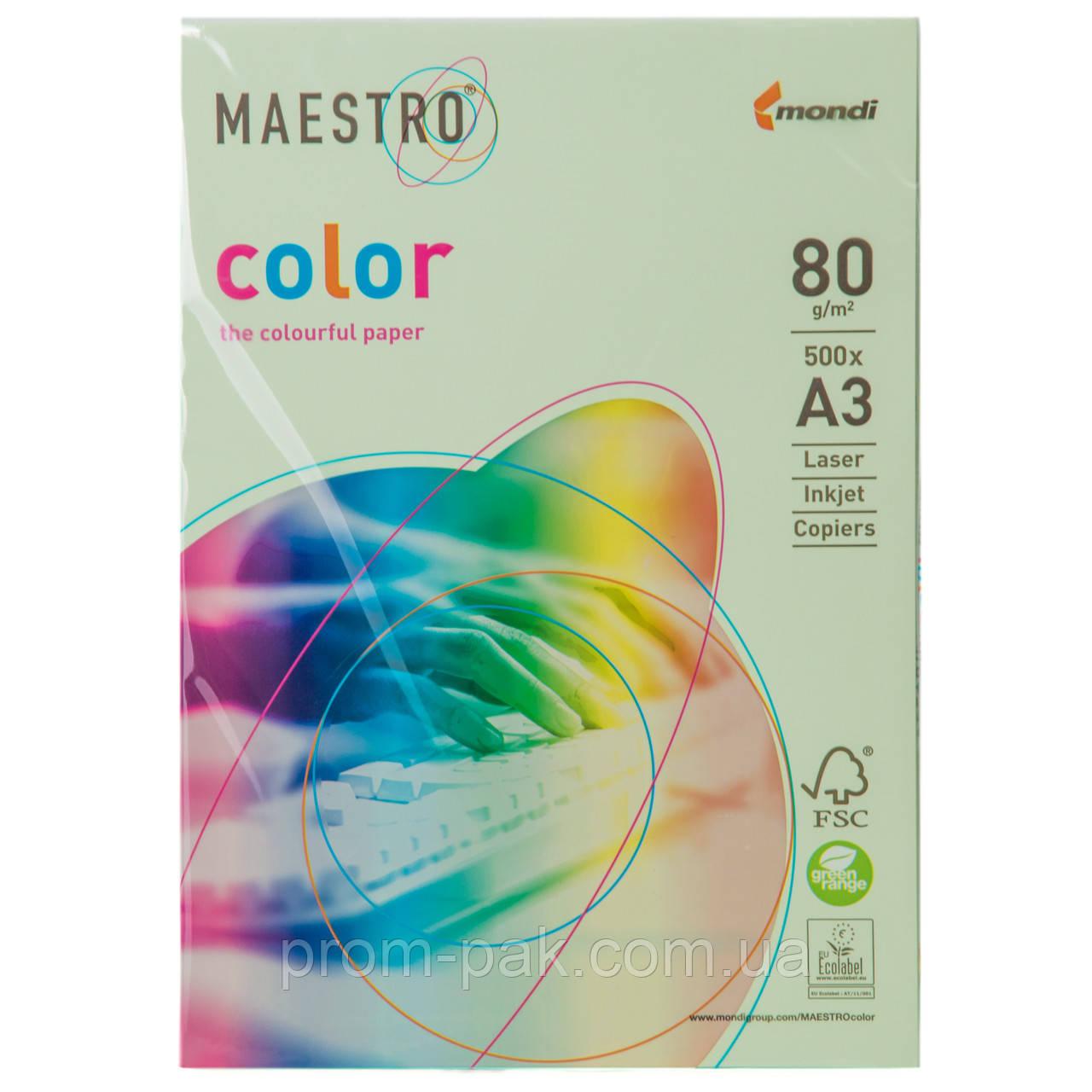 Цветная бумага Маэстро А3 г/м² 80 пастель светло - зеленый