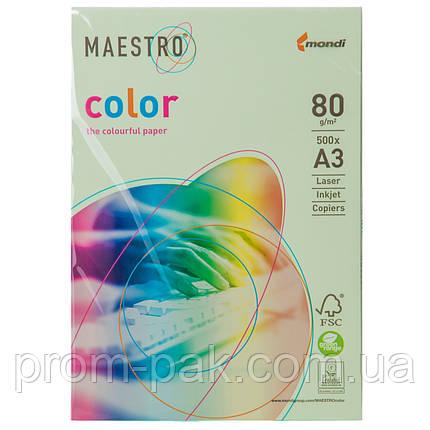 Цветная бумага Маэстро А3 г/м² 80 пастель светло - зеленый, фото 2