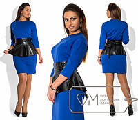 Платье женское синие баска кожа ОМ/-292 50, черный с черным