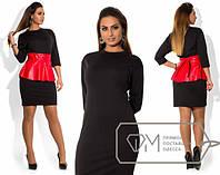 Платье женское черное баска кожа ОМ/-292 48, рыжий с черным