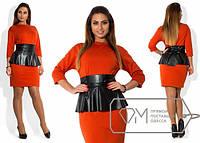 Платье женское рыжее баска кожа ОМ/-292 48, черный с красным