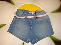 Низ лето шорты шорты джинсовые с розовым поясом дев. синий 100%хлопок 14041587 Melby Италия 104(р)
