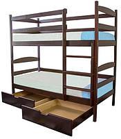 Кровать двухярусная из натурального дерева Санта