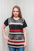 Женская футболка полоска, леопард разм 52