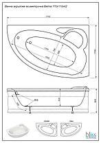 Акриловая ванна асимметричная Bliss Belina 170x110 левосторонняя, фото 3