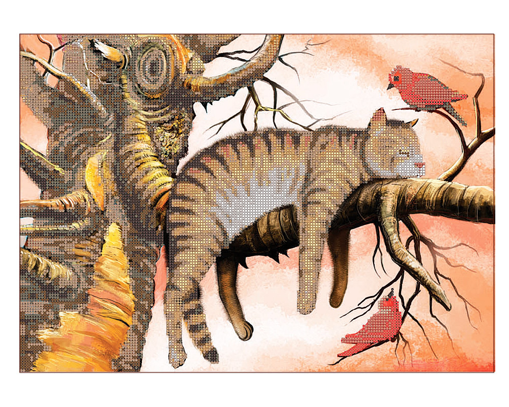 Схема для вышивки бисером кошка на дереве Сладкий Сон ...