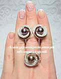 Серебряный набор украшений 058 серьги и кольцо, фото 4