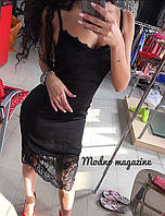 Элегантное женское платье-сорочка из шелка армани, по низу с кружевом