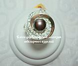 Серебряное кольцо с накладками золота и жемчугом, фото 2