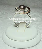 Серебряное кольцо с накладками золота и жемчугом, фото 8