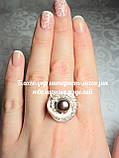 Серебряное кольцо с накладками золота и жемчугом, фото 3