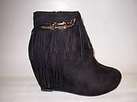 Ботинки женские на платформе замшевые с бахромой ,цвет черный