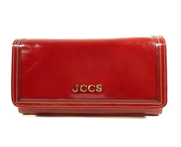 Кошелек женский кожаный на кнопке красный JCCS 3053