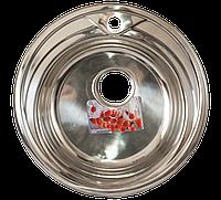 Мойка для кухни врезная круг 490 х 165/180 ULA 0,8 глянцевая