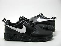 Кроссовки мужские Nike Roshe Run II из натуральной кожи черные с белым