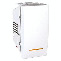 Выключатель 1-клавишный. (СХ.1) С индикацией. 1 модуль. 10А, Белый