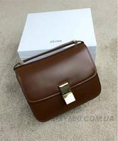 Женская сумка CELINE CLASSIC BOX SHOULDER BAG BROWN (7304)