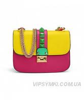 Женская сумка VALENTINO ROCKSTUD LOCK BRIGHT PINK (7580)