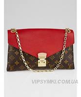 Женская сумка LOUIS VUITTON MONOGRAM CANVAS PALLAS CHAIN RED (4065)