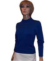 Вязаный женский свитер из мерсиризованного хлопка с ажурным принтом на спине.