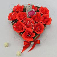 Букет из конфет Сердце с мишкой Тедди
