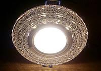 Декоративный встраиваемый светильник с LED  подсветкой Feron CD877 MR-16 (4000K) хром-прозрачній