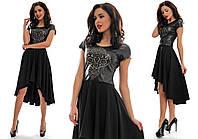 Женское платье со шлейфом +кожа