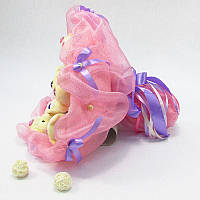 Букет из игрушек Мишки 11 розово-сиреневый