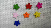 Пуговицы деревянные цветок 1,5 см микс (10 шт)